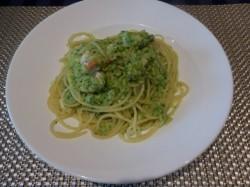 車海老(沖縄)とブロッコリーのスパゲッティ